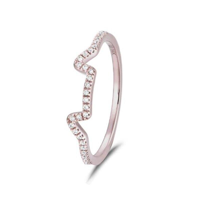 Kawaii mignon cristal oreilles de chat bague 100% 18 K or bague pour les femmes filles cadeaux d'anniversaire Parure Bijoux 0.92G