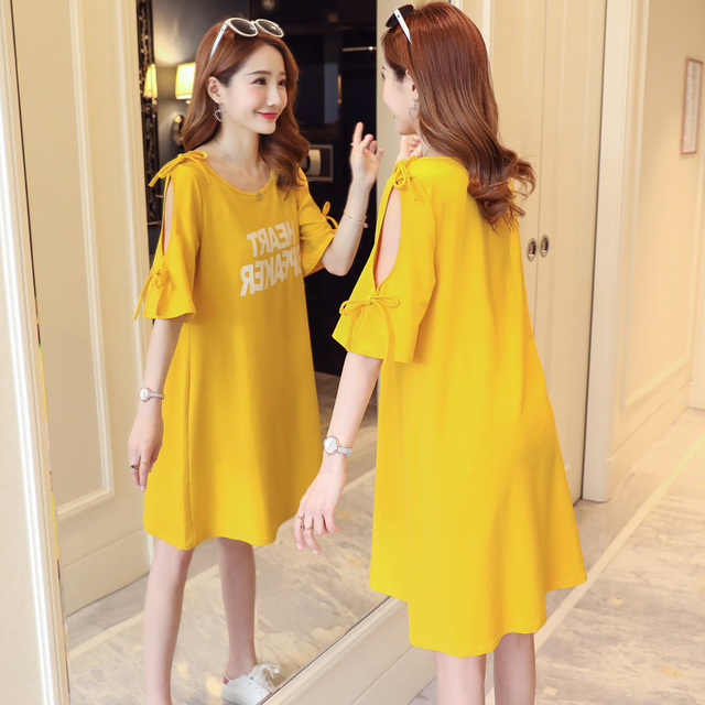 fab90fc3351 Maternity Dresses Solid Clothes For Pregnant Women O-neck Pregnancy Clothing  Summer Loose Tops 2018 New Vestidos