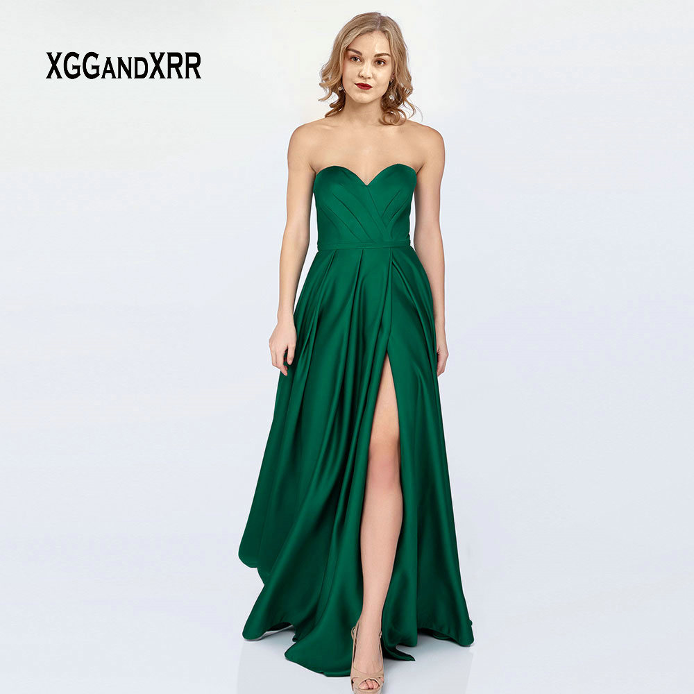 Elegant   Prom     Dresses   2019 Long Evening Party Gown Sweetheart Off Shoulder Sexy Backless Green Satin   Dress   Plus Size Formal Gown
