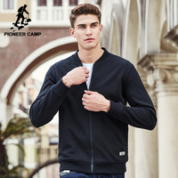 Pioneer Camp New black thick fleece hoodies men brand clothing solid casual zipper sweatshirt male quality 100% cotton 622215