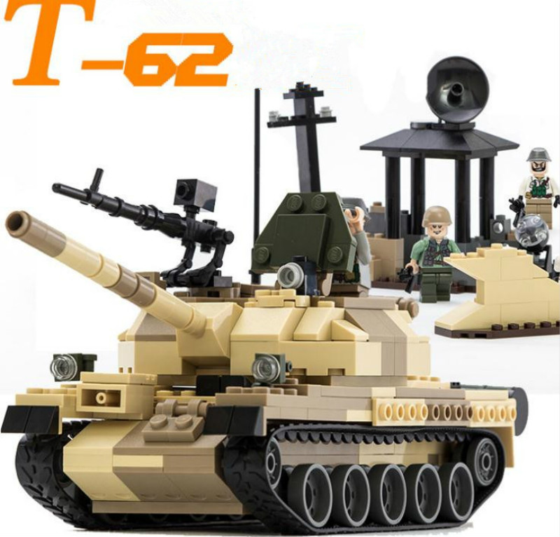 600019A 372pcs Military Tank Series WW2 Russia The T-62 main battle tanks model Building Block Classic Compatible with Toy lepin new winner c tank battle main battle tanks capital tank military series set building brick block educational kids toys