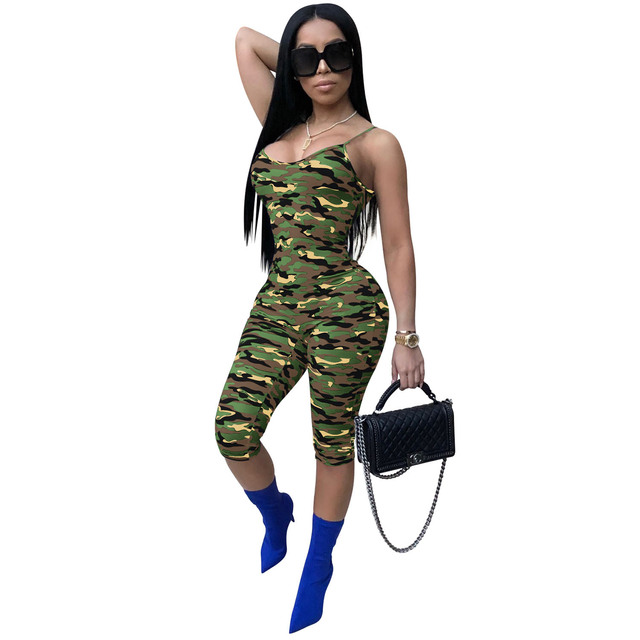 6d95c80b8 One Piece Bodysuit Camouflage Spaghetti Strap Jumpsuit Summer V Neck  Sleeveless Military Print Streetwear Rompers Women Jumpsuit