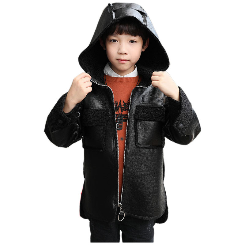 Для мальчиков утолщенная кожаная куртка зима 2018 пункт большие мальчики с кашемировое пальто Модные кожаные пальто