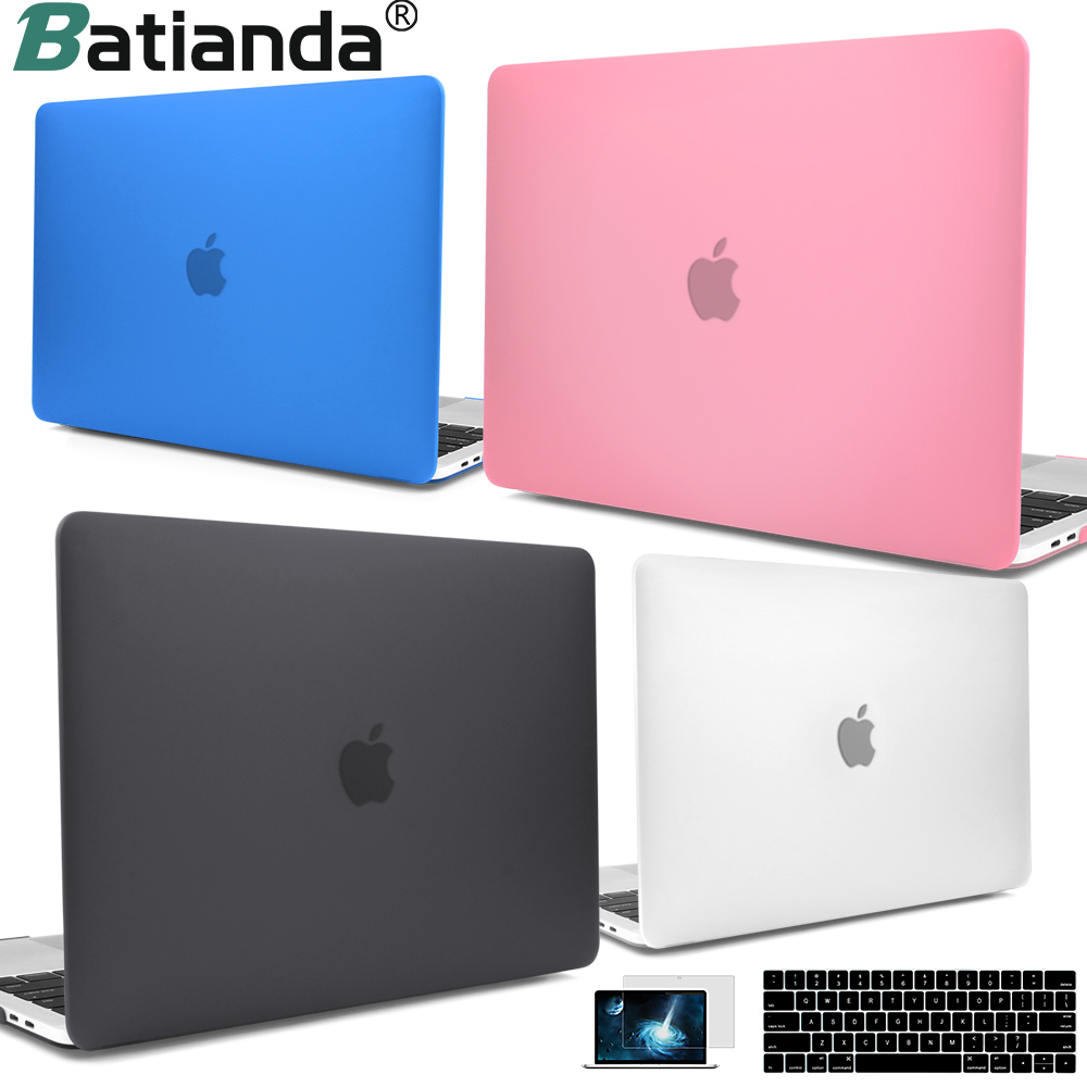 För ny MacBook Pro Air Retina 13 15 Case 2018 med Touch Bar & Keyboard Cover Clear Crystal Matte Hard Case för Macbook A1932
