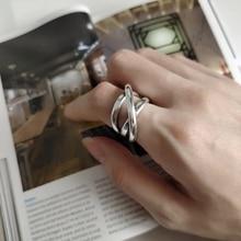 LouLeur 925 เงินสเตอร์ลิงดิบสายสานไม่สม่ำเสมอCreative Industryเนื้อแหวนผู้หญิงเครื่องประดับมิตรภาพของขวัญ