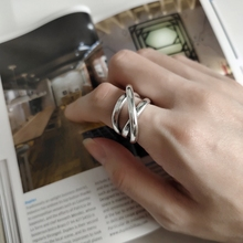 LouLeur 925 sterling silver crude line weave irregular creative industry style texture rings for women Friendship jewelry gift