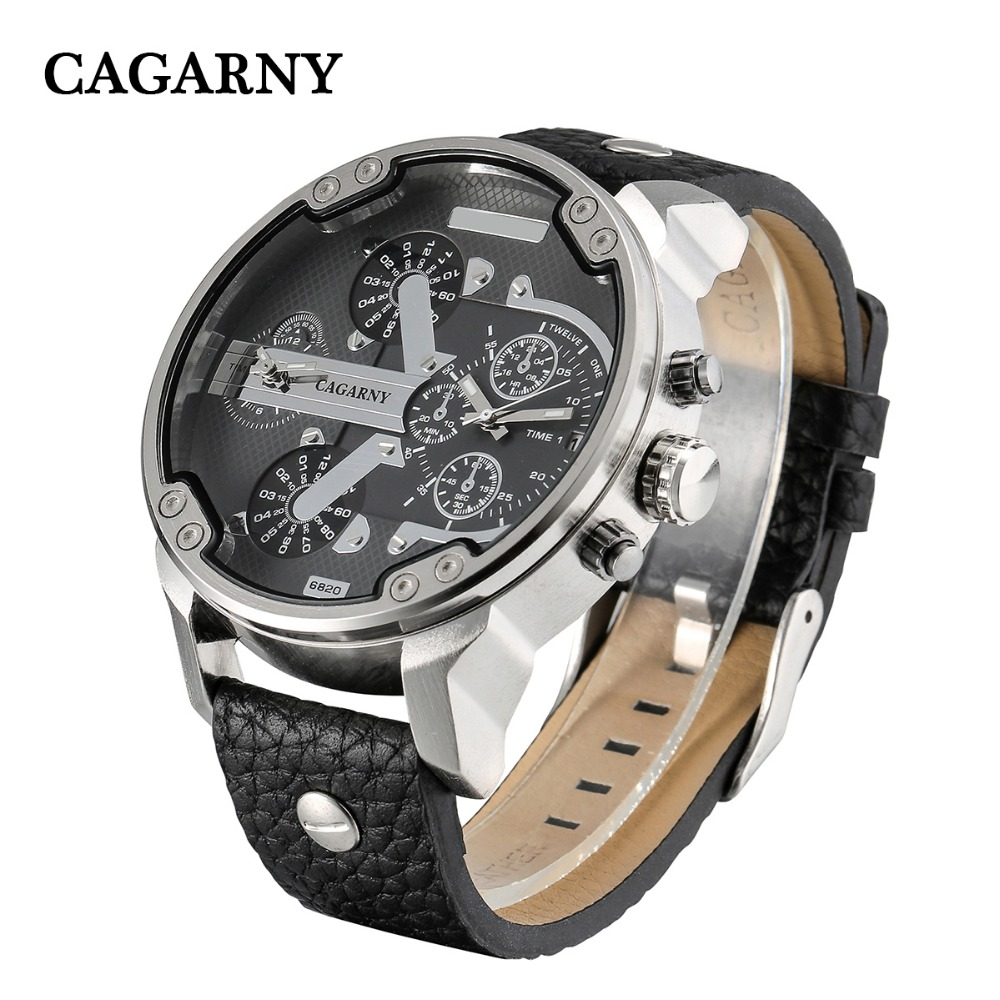Classic Big Case Analog Quartz Watch For Men Luxury Brand Cagarny Dual Times Miltiary Relogio Masculino Black Leather Strap Saat