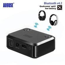 Agosto MR270 aptX Bluetooth 4.2 Transmissor Óptico 3.5mm Aux RCA Dual Link Fones de Música Adaptador de Áudio Sem Fio para TV PC