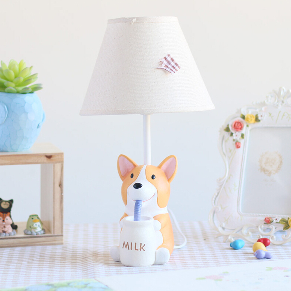 E14 110V-220V Children Room Lovely Puppy Child Table Lamp Birthday Gifts Kids Table Led Lamp Switch Button Desk Lamps