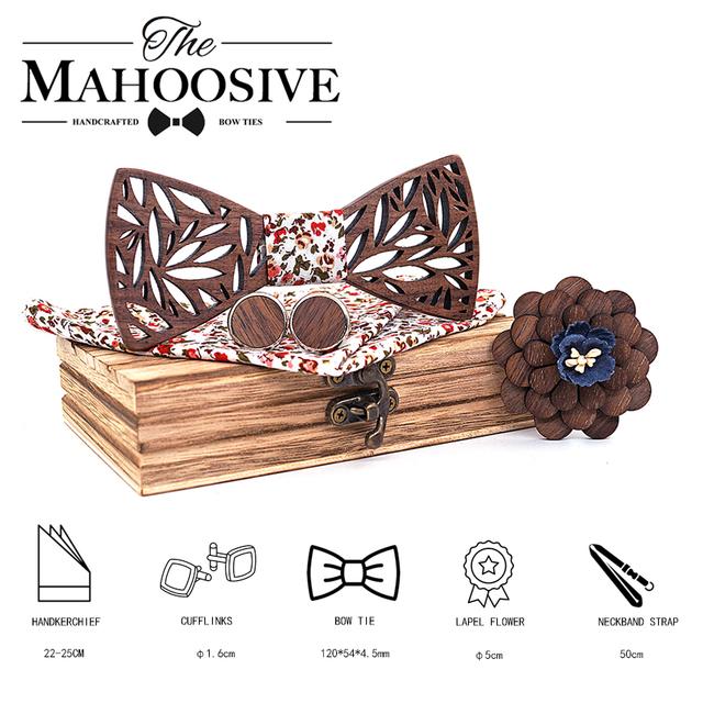 Wooden Bow Tie Handkerchief Set