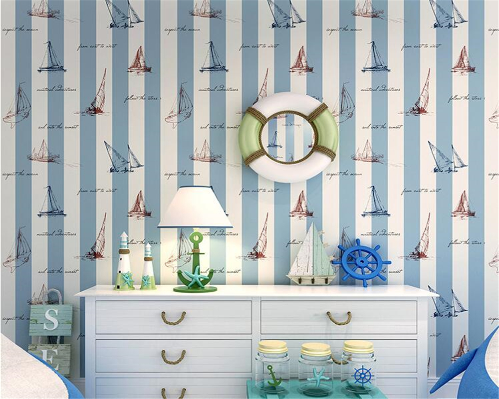 Beibehang Boys kids room wallpaper Mediterranean style blue vertical stripes Cartoon Nautical Sailing 3D Wallpaper roll beibehang mediterranean wallpaper of the sitting room the bedroom of children room warm vertical stripes modern wallpaper roll