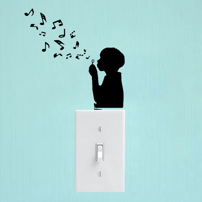 Music Decor Fashion Boy Wall Sticker Vinyl Light Switch Decal Bedroom 6SS0094 image