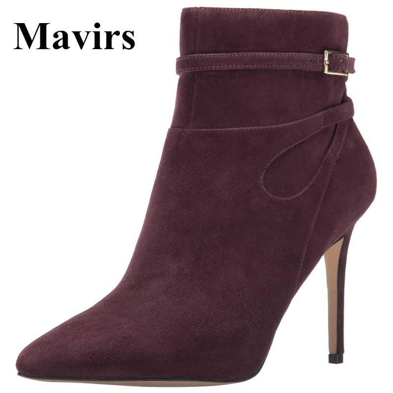 Mavirs 2017 Autumn Fashion Pointed Toe 10 CM Stiletto Heels Women Ankle Boots Faux Suede Comfy Shoes Side Zipper US Size 4-15 classic fashion women s club banquet wedding shoes sexy suede zipper 17 cm in stiletto heels