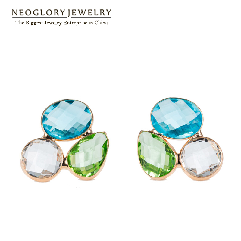 Neoglory Austria Crystal Stud Earrings For Women Girl Friend Fashion Jewelry Birthday Holiday Gifts 2016 Brand New image