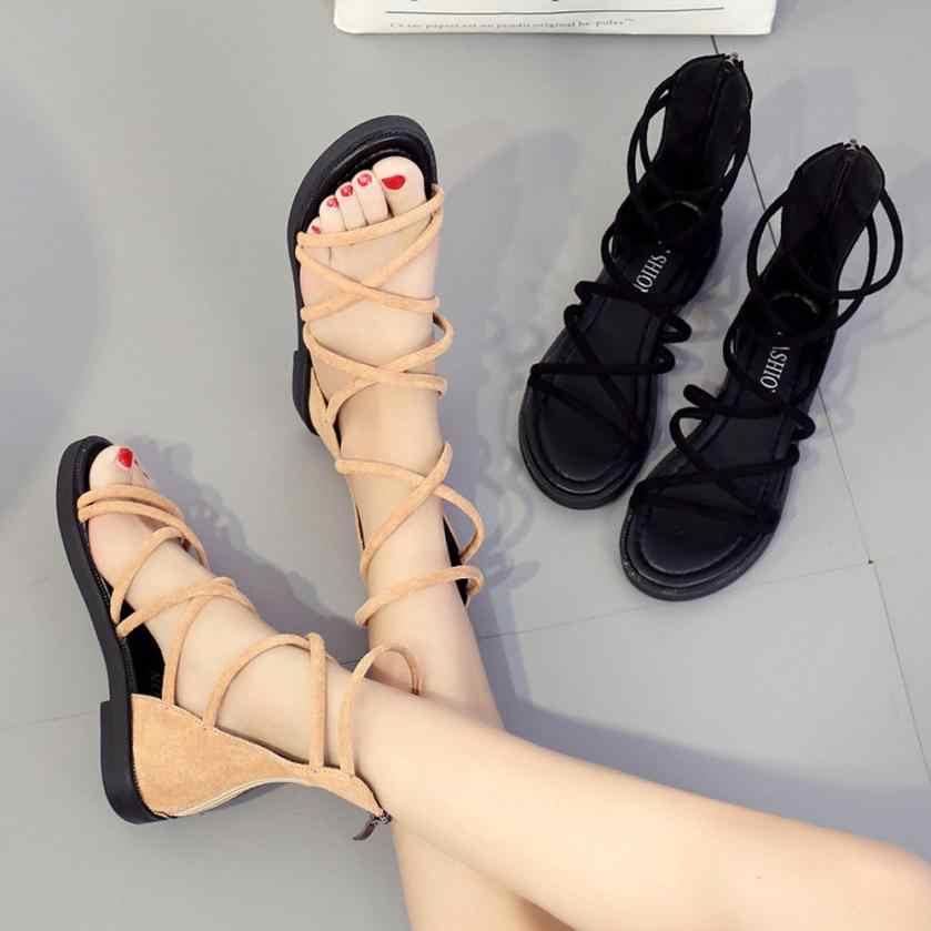 dacc7a5e0a15 SAGACE Shoes Sandals Women Fashion Solid Color Cross Tied Round Toe Flat  Heel Sandals Rome Shoes