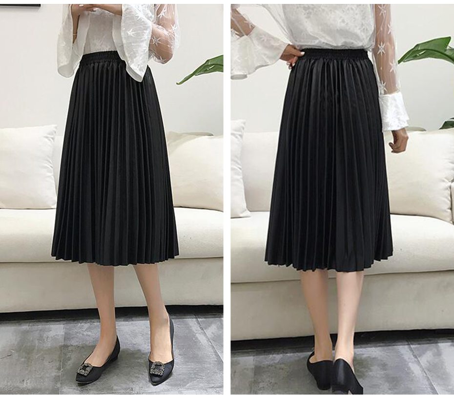 2018 11 11 PU Accordion Pleated Skirt Autumn & Winter New Style Leather Skirt High Waist Faldas Largas Elegantes Free Shipping 18