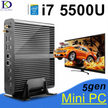 Core i7 5500U КНУ Barebone PC HD Graphics5500 Безвентиляторный Mini PC, Настольный Компьютер, 2 HDMI, SD Карты, 4 К HTPC, Мини-Itx Micro PC, Windows10