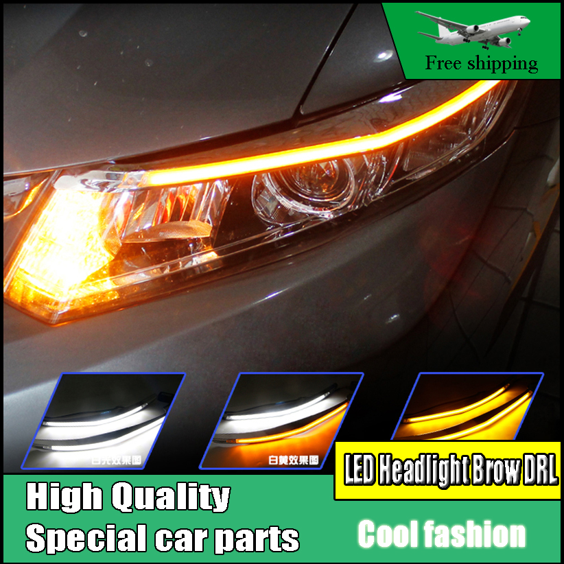 цена на Car-styling LED Headlight Eyebrow Daytime Running Light DRL With Yellow Turn Signal Light For Honda Civic 2012-2014 Auto Parts