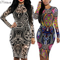 2017 New Fashion Women Sexy Mesh Sheer Sleeved Summer Dresses Aztec Tribal Bodycon Curvy African Dress Plus Size S-XXXL