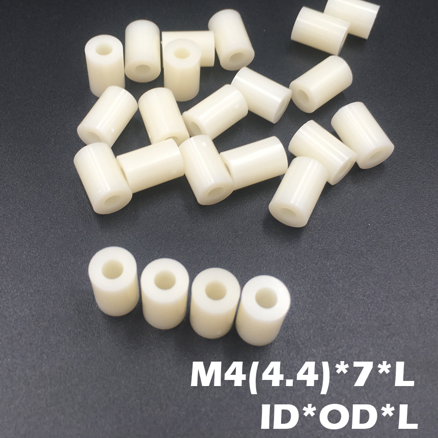 1000pcs M4 4.2*7*6 4.2x7x6 4.2*7*7 4.2x7x7 ID*OD*L ABS Plastic Nylon Round Column Tube Insulation Shim Washer Standoff Spacer 1000pcs to 220 insulation tablets circle m3 transistor pads bushing to 220 plastic insulation washer