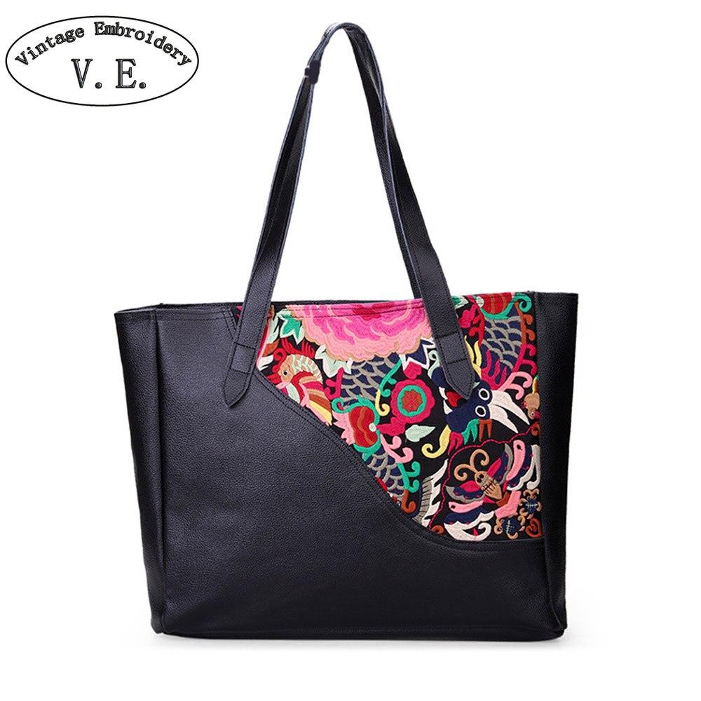 Chinese Vintage New Women Handbag National Floral Embroidery Shoulder Bag Retro Genuine Leather Black Travel Shopping Bag