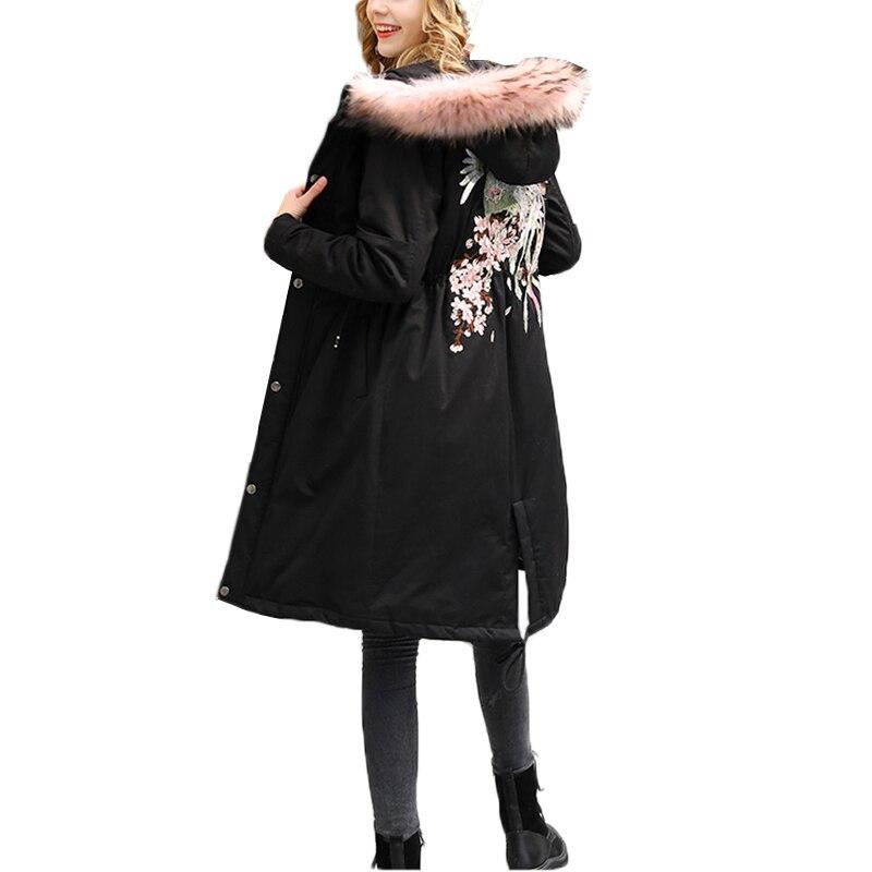Bordado Capucha Parka Invierno Nuevo Black Para Chaqueta Femenina Mujer De Grande 2018 Con Algodón Cuello Piel Abrigo Talla 14qBYpwvc
