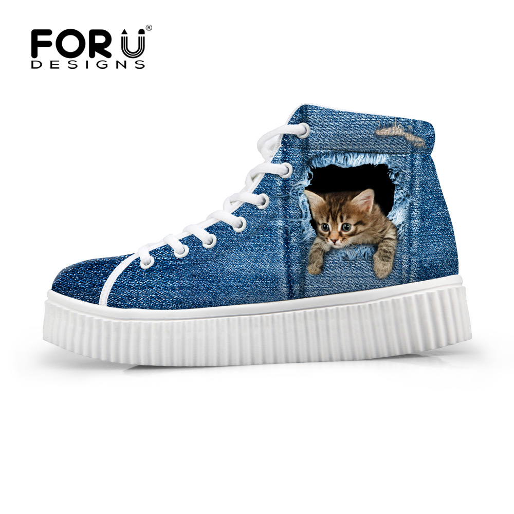 FORUDESIGNS Casual Women Winter Shoes,Fashion Animal Denim Cat Flat Shoes,Female Ladies Platform Cute Lace Up Flats Shoes