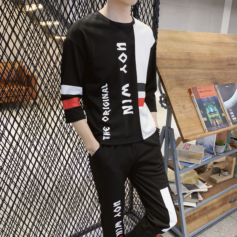 Mode Hip Hop Sport Hommes Deux Pièces t-shirt + Pantalon Sweat Ensemble décontracté Jeunes survêtement Vêtements Hommes Lettre Imprimer Ensemble De Survêtement - 5