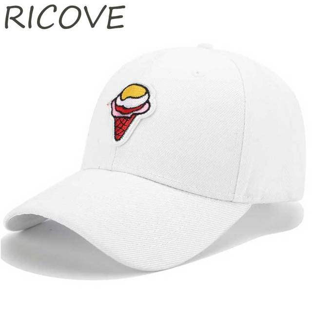 09b7c75ec3e Ice Cream Embroidery Baseball Cap Funny Dad Hats For Women Men Couple Lover  Hat Casual Snapback Hip Hop Caps Summer Sun Visor