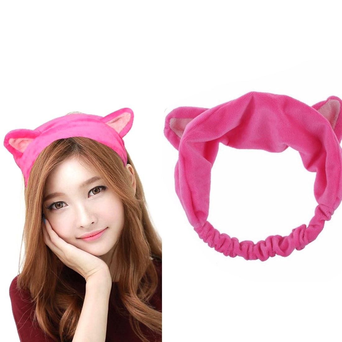Hot 1PC Cat Ear Headband Women Hair Accessories Wash Shower Cap Head Ornaments Elastic Hairband Party Halloween Headdress