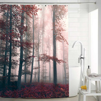 Scenery Forest Printed Waterproof Bathroom Shower Curtain Mildew Proof Polyester Fabric Bathroom Curtain Home Decor 180x180cm Shower Curtains Home & Garden -