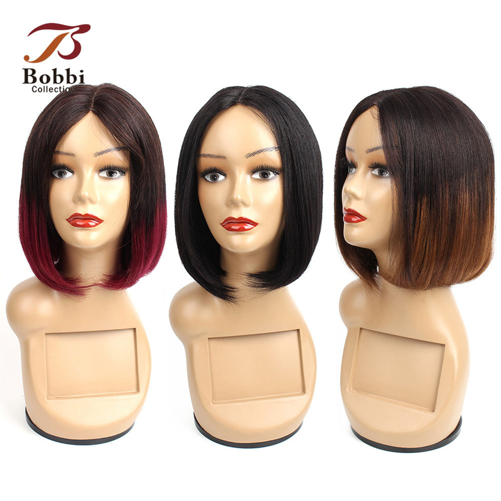 Bobbi Collection Straight Human Hair Wigs Middle Part Machine Made Wig I Type Lace Wig Short