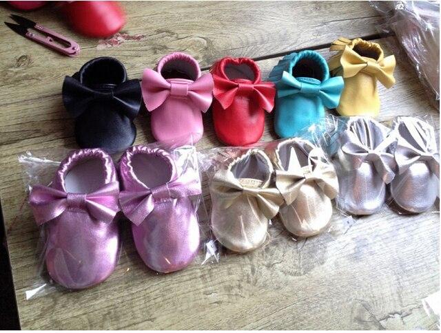 Nueva metallic gold silver pink Pearl cobre mocasines de cuero Genuino de la vaca zapatos de bebé zapatos de niño zapatos recién nacidos