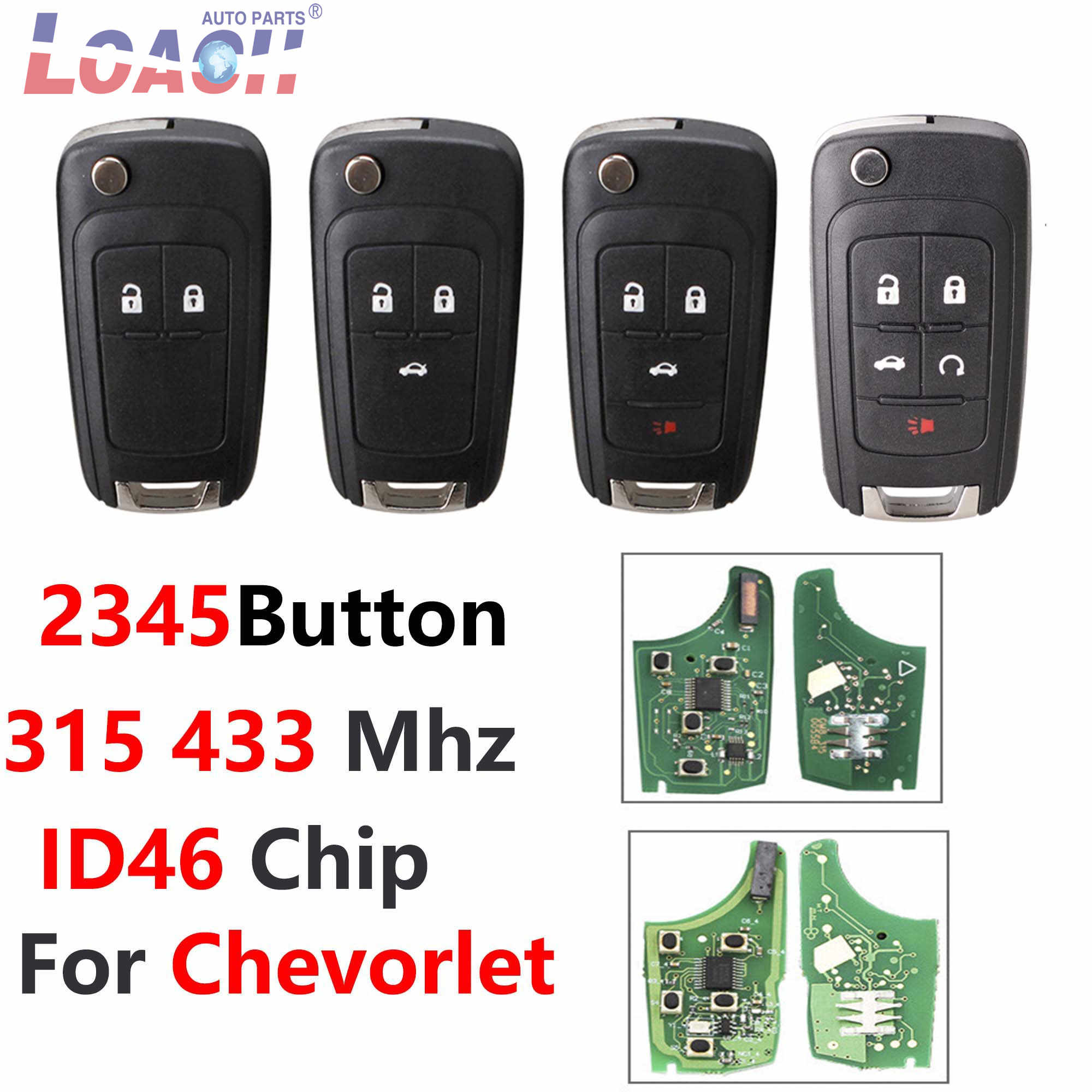 New Key fob with flip Key 5 Buttons car Remote Starter for Chevy Camaro Equinox Cruze Impala Malibu with Battery and Electronics FCC OHT01060512 KEYFOB CANADA