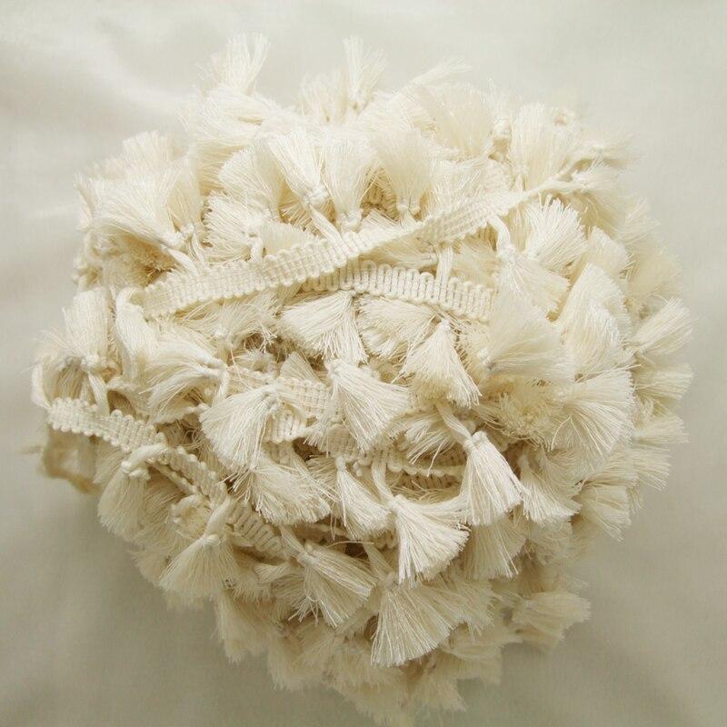 3 yardy / šarže Vintage 100% bavlna s vázaným lemem (Ivory) lemované lemování s roztomilými střapci 1 cm šířka pásky 1,5 cm délka střapce