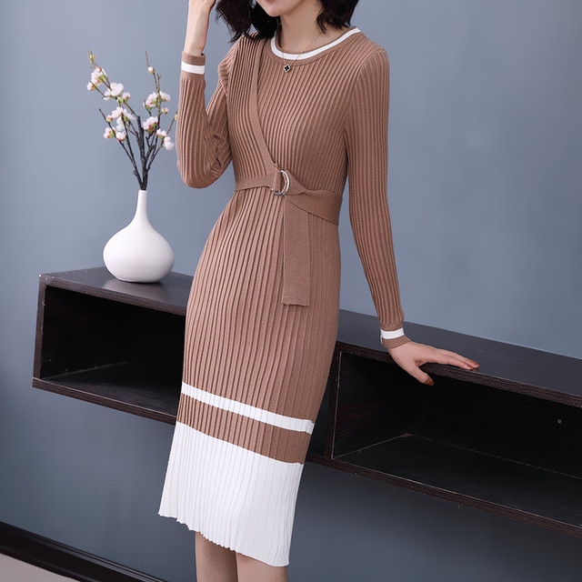 62e6bb6f9e11 Striped Sweater Dress Autumn Winter 2018 New Arrivals Long Sleeve Bodycon  Dresses Ladies Knee-length