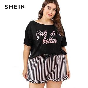 Image 5 - SHEIN grande taille femmes lettre imprimer t shirt et rayé Shorts pyjama ensembles à manches courtes t shirt avec volants ourlet Shorts ensemble de vêtements de nuit