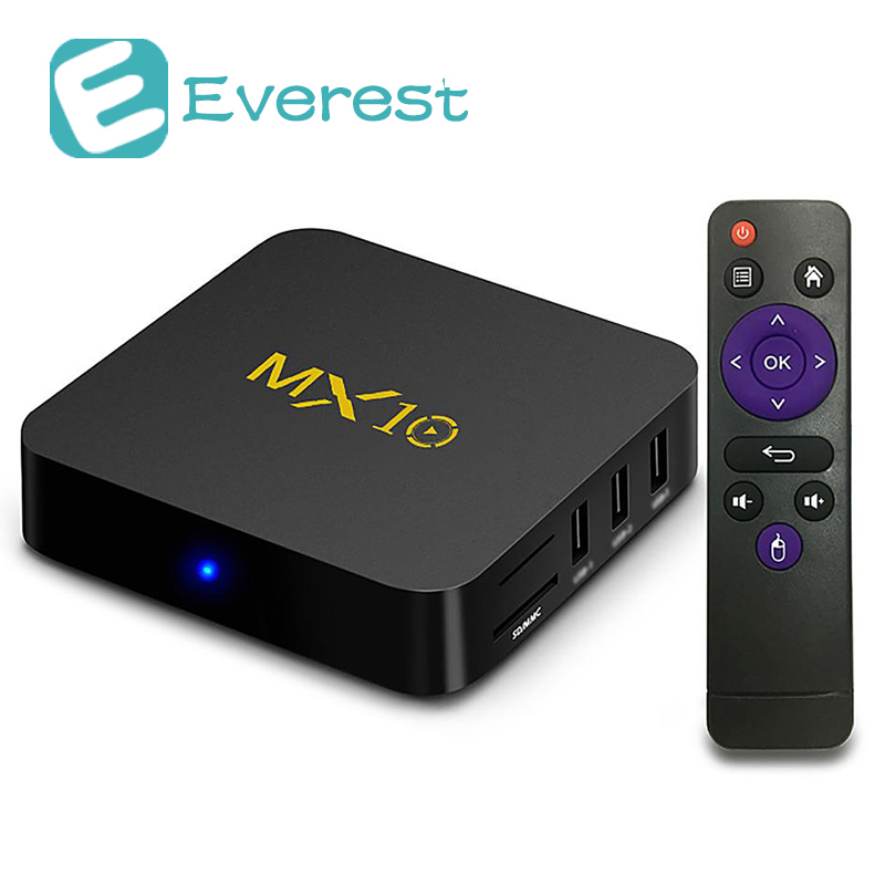 MX10 Android 7.1.2 RK3328 4GB DDR4/32GB eMMC 4K HDR smart TV BOX 802.1.1 b/g/n WIFI LAN VP9 HDMI USB3.0 mini pc