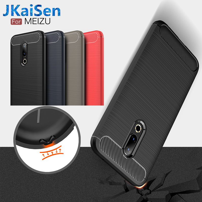 Phone Case for <font><b>MEIZU</b></font> <font><b>Pro</b></font> 7 Plus Note 5 6 Carbon Fiber Soft TPU Brushed Anti Skid Back Cover for <font><b>Meizu</b></font> E2 3 15 <font><b>16</b></font> Plus Lite S6 image