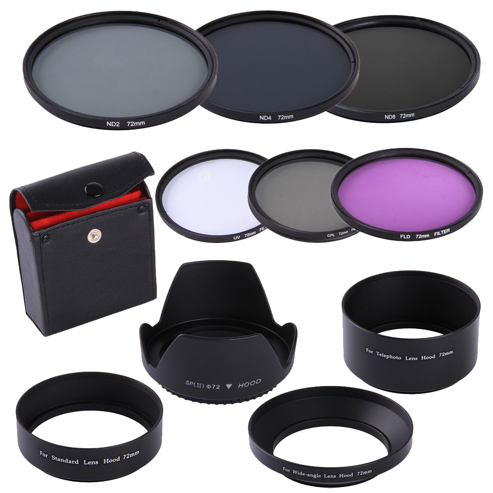 72MM CPL UV FLD ND 2 4 8 Filter Kit Lens Hood for Nikon Canon Sigma