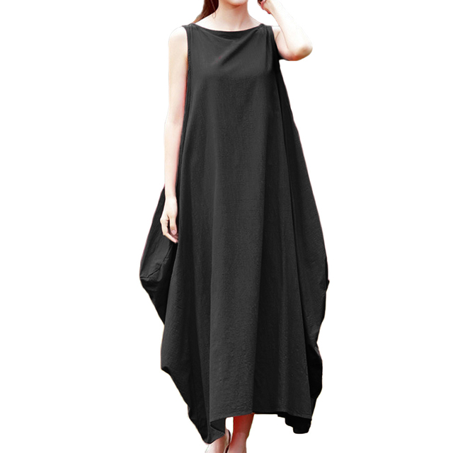 Anself Women Cotton Linen Dress Sleeveless 4XL 5XL Plus Size Maxi Long Dress