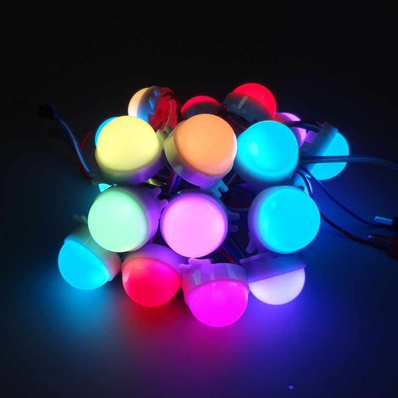 20pcs /Lot DC12V WS2811 30mm Diffused LED Pixel Module Full Color 3LEDs 5050 RGB led lamp string D30 modules IP68 0.72W/PCS 20pcs lot no dead pixel 100