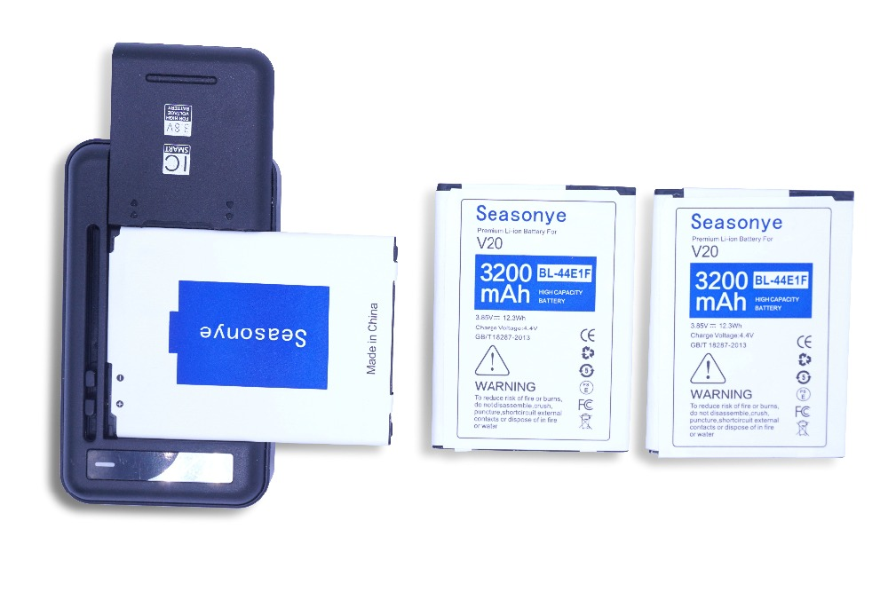 Seasonye 3x 3200mAh / 12.3Wh BL-44E1F / BL44E1F / BL 44E1F Phone Replacement Battery + Universal Charger For LG V20 H990 F800