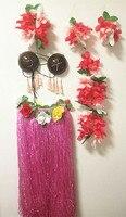 6pcs/Set Women's Hawaiian Luau Elastic Grass Hula Skirt 80cm Pink coconut bra