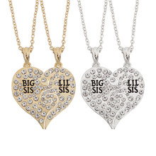 2 PCS Big Sister Little Sister Broken Heart Rhinestone Pendant Necklaces Bohemian Charms Crystal Women Choker Statement Necklace(China)
