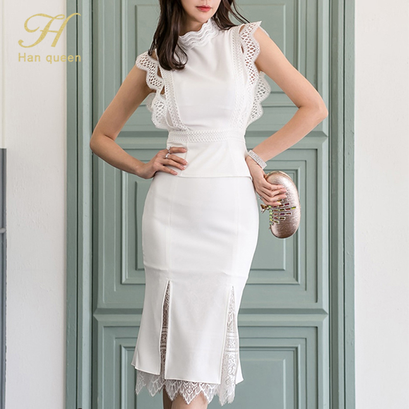 Image 5 - H Han Queen Women Summer 2 Pieces Suits 2019 Lace Patchwork Shirts Top And Mermaid Bodycon Skirts OL Work Wear Business Set NewWomens Sets   -