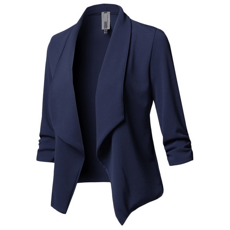 LASPERAL Blazer Women Solid Color Suit Long Sleeved Lapel Casual Small Suit Slim Yards Ladies Blazers Work Wear Jacket Plus Size