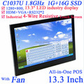 13.3 inch Industrial 4-wire resistive touchscreen computer 1280*800 embedded All-in-One computer Industrial PC 1G RAM 16G SSD