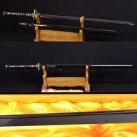 JAPANESE SAMURAI FULL BLACK SWORD DRAGON NINJA FULL TANG VERY SHARP STRAIGHT BLADE OIL QUENCHED KNIFVES CUSTOM 1060 CARBON STEEL