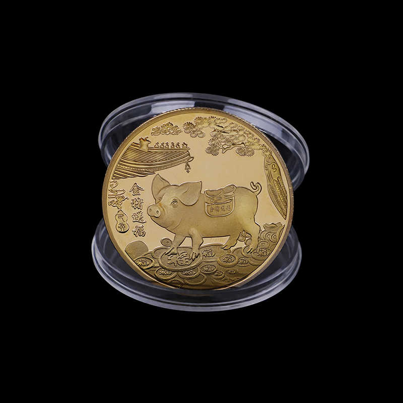 2019 Fu PigGift Gold Plated Good Fortune Home Car DecorDelivers Money Coins Collection Commemorative Coin Year of Pig New Year